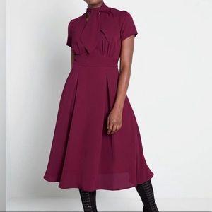 ModCloth x Collectif Suzette Swing Midi Dress Wine
